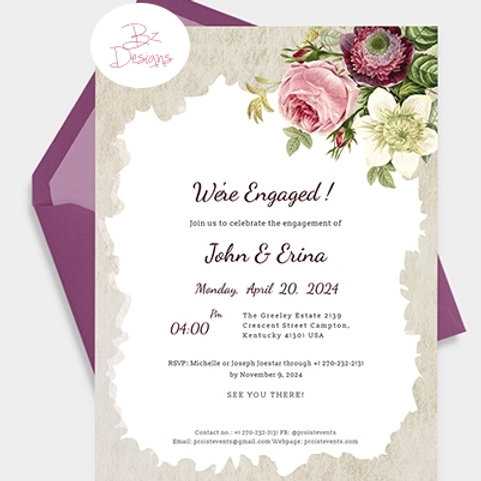 Ivory & Burgundy Floral Engagement invites + free matching envelopes
