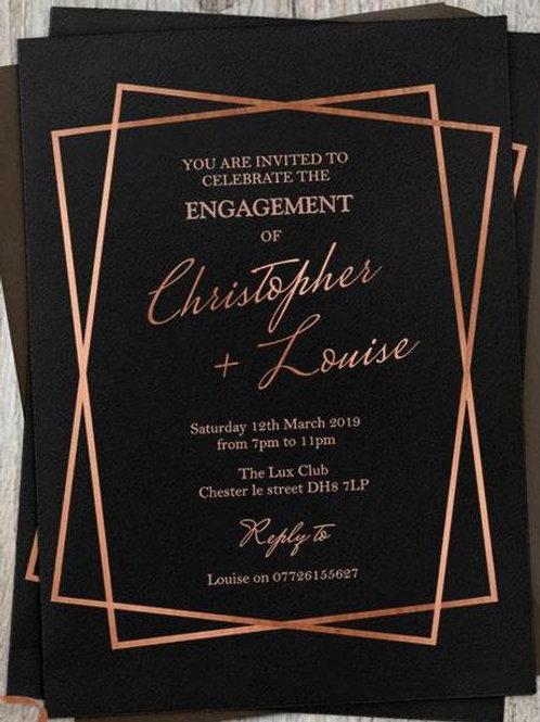 Rose Gold Metallic & Black Elegance Engagement invites