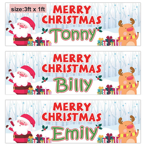 2 Personalised Cute Santa & Rudolf Christmas banner : size 3ft x 1ft