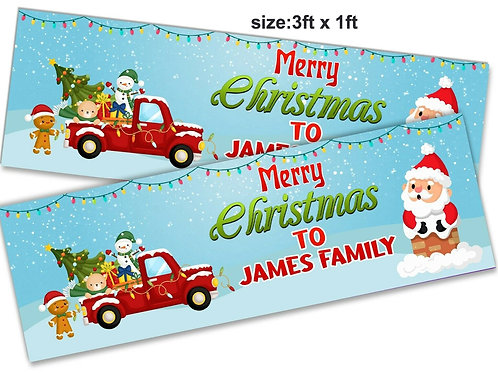 2 Personalised Santa & Friends Merry Christmas Banner: size 3ft x 1ft