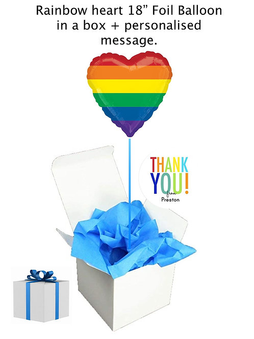 "Rainbow heart 18"" foil Balloon box + personalised message"