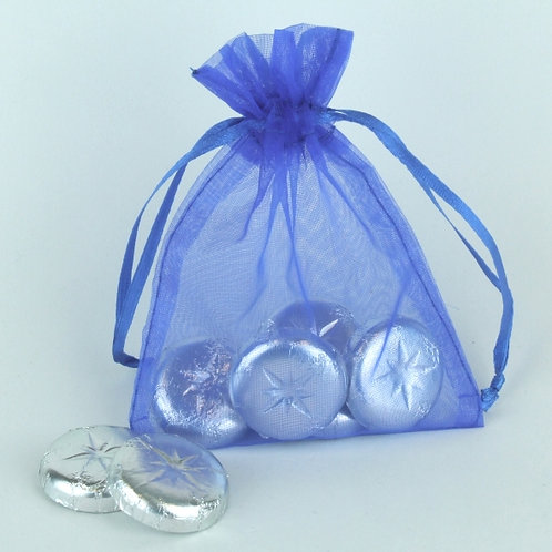 Prefilled Organza Bag med. 10x13cm + 5 Swiss Chocolate Rounds