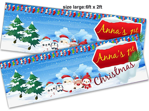 2 x Personalised Santa 1st Christmas Banner: size 6ft x 2ft
