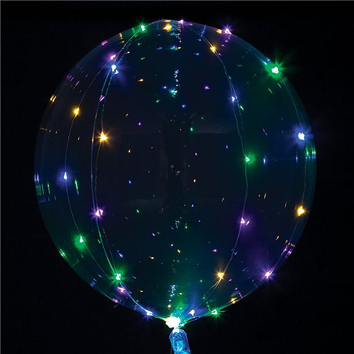 Helium filled LED Multi-Colour Light Up Transparent Balloon - 18""