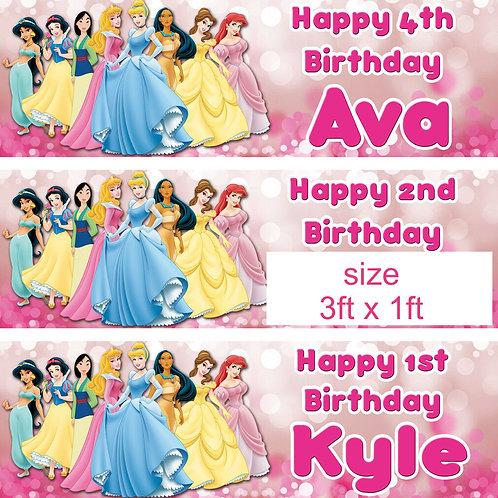 2 personalised Disney princess birthday banner party princess children