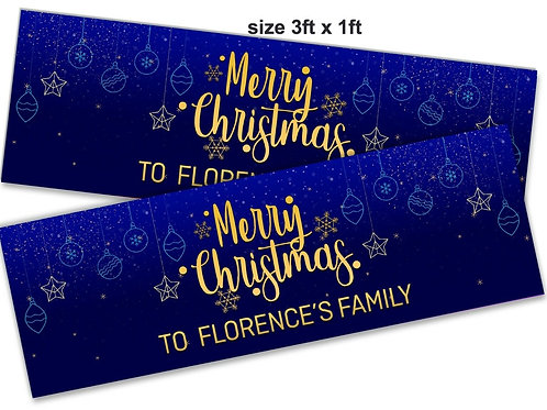 2 x Personalised Gold & Blue Merry Christmas Banner : size 3ft x 1ft