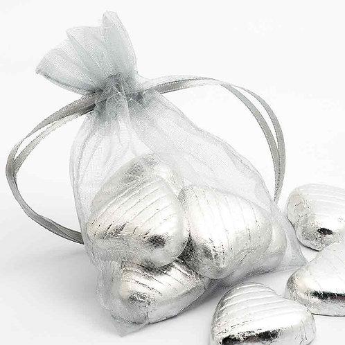 Organza bags 7 x 9 cm - silver