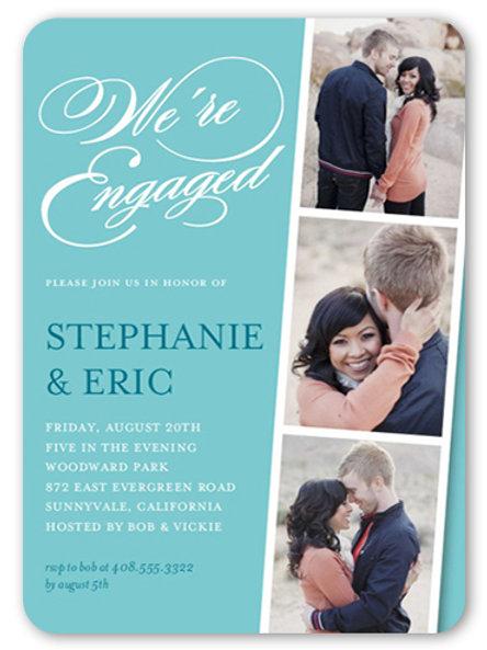 Elegant  3 Photo Engagement invite + invites