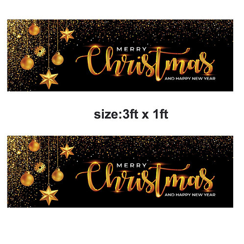 2 Merry Christmas & Happy new year banners : 3ft x 1ft