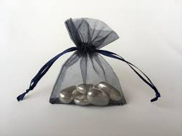 Prefilled Organza Bag 10 x 13 cm + 10 SILVER whole sugared almonds