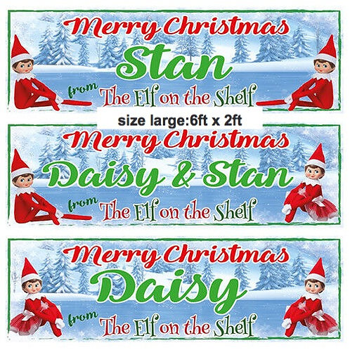 2 PERSONALISED  Merry Christmas Elf Banners - size 6ft x 2ft