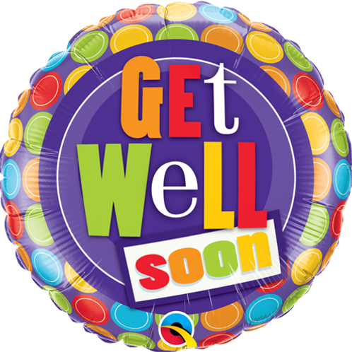 "18"" ROUND GET WELL DOT FOIL BALLOON"