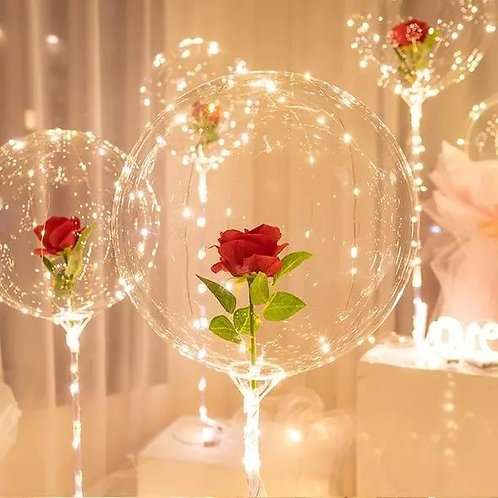 DIY LED Balloon Flower Bouquet Set  -  RED
