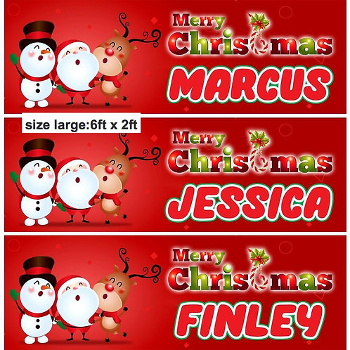 2 Personalised Christmas Santa Signing Banner :size 6ft x 2ft