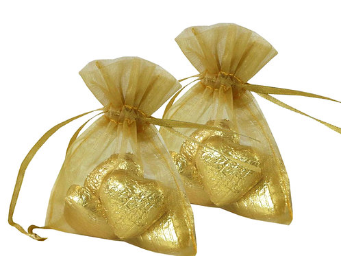 Organza bags 7 x 9 cm –  gold