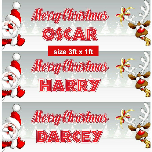 2 Personalised adorable Santa & Reindeer Christmas banner: size 3ft x 1ft