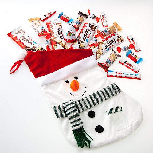 Snowman pre-filled stocking - kinder selection