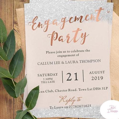 Rose Gold & Glitter Engagement invites.