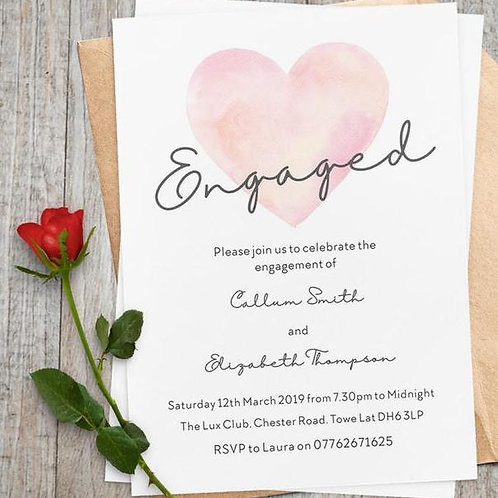 Delicate Pastel watercolour heart invite + free envelopes