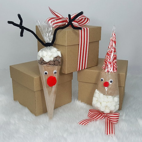 hot chocolate cone set - reindeer & father Christmas set of 2