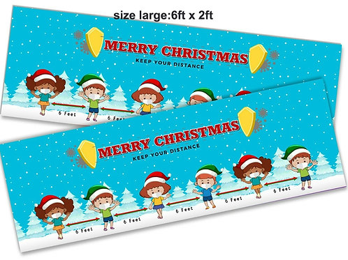 2 Cute Christmas social distancing banner :size6ft x 2ft