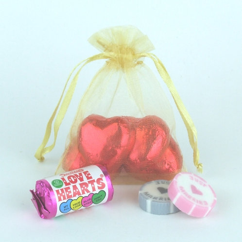 Prefilled Organza Bag 7 x 9 cm + 3 just married rock sweets