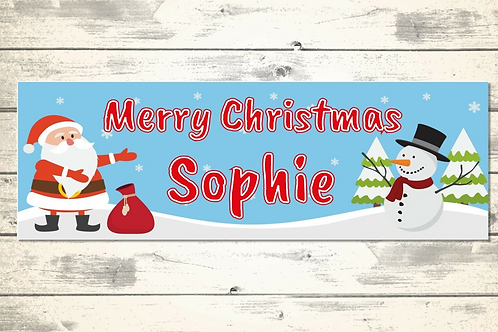 2 x Personalised Santa & Snowman Christmas banner: size 3ft x 1ft
