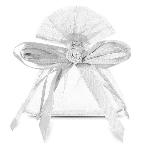 Organza bags 8 x 10 cm – white bow