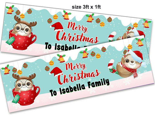 2 Personalised Ultra Cute Merry Christmas Banner - size 3ft x 1ft