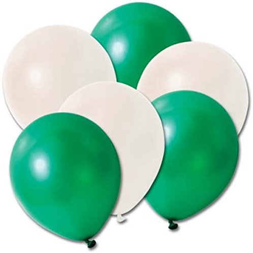 "Green & white coloured balloons - 12"" latex - 8pkt"