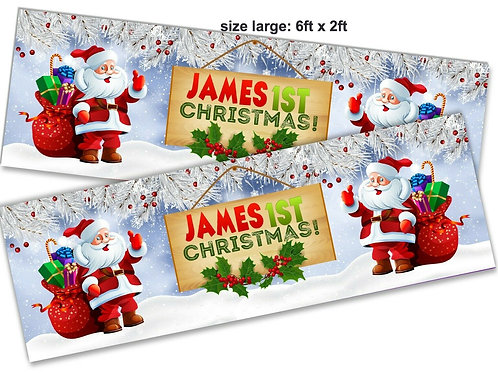 2 Adorable Santa 1st Christmas Personalised banner :size 6ft x 2ft