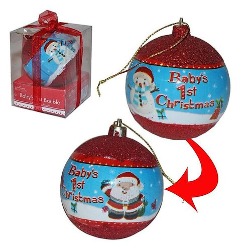 Baby's 1st Christmas Bauble With Red Glitter & Santa design