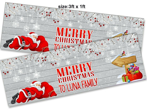 2 x Personalised Sleeping Santa Christmas Banner : size 3ft x 1ft