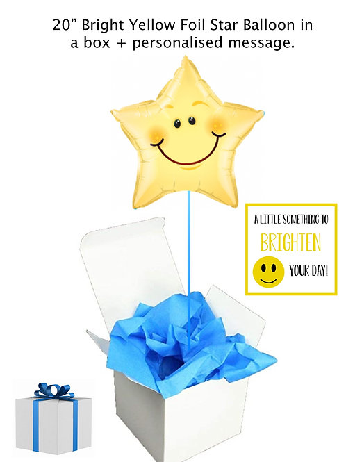 """Sunshine Yellow Star 20"""" Foil Balloon in a box + personalised message"""