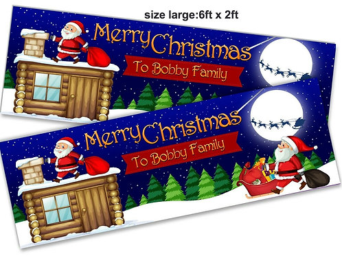 2 Personalised Roof-top Santa Christmas banner: 6ft x 2ft