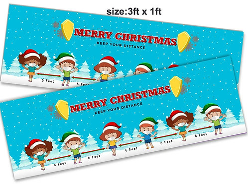 2 Cute Christmas social distancing  banner :size3ft x 1ft