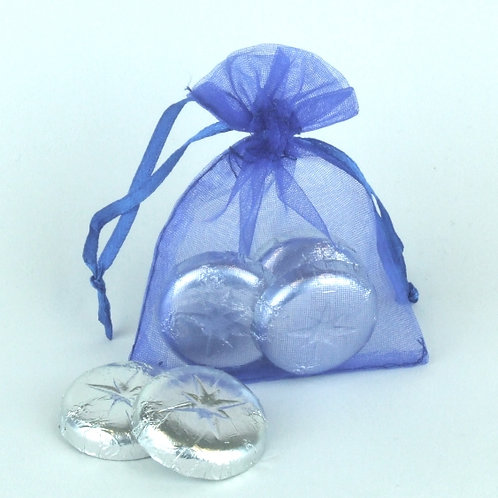 Prefilled Organza Bag 7 x 9 cm + 3 Swiss Chocolate Rounds