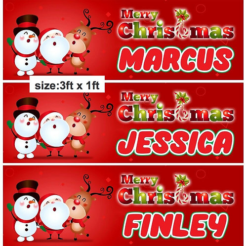 2 Personalised Christmas Santa Signing Banner :size 3ft x 1ft