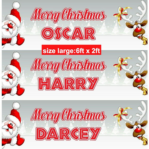 2 Personalised adorable Santa & Reindeer Christmas banner: size 6ft x 2ft