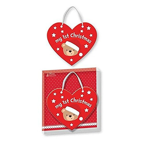 Baby's 1st Christmas Red Heart Shaped Plaque