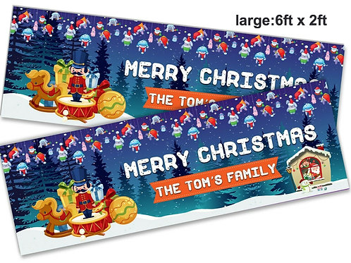 2 Personalised Santa & toys Merry Christmas Banner - size 6ft x 2ft