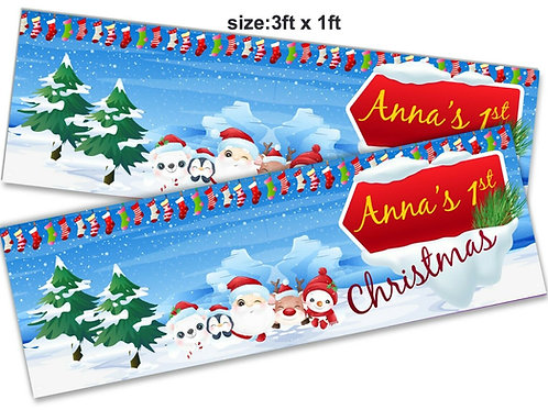 2 x Personalised Santa 1st Christmas Banner: size 3ft x 1ft