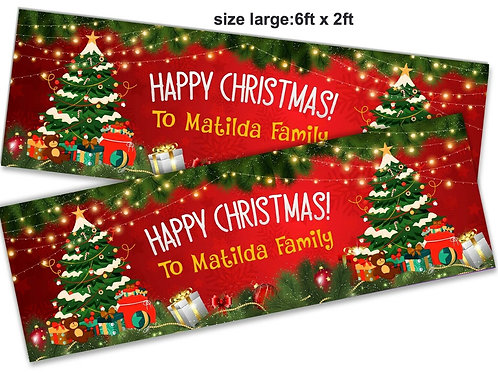 2 x Personalised Festive Happy Christmas Banner: size 6ft x 2ft