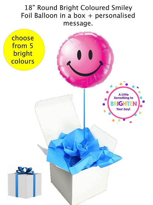 "Round Smiley Face 18""/43cm Foil Brightly coloured Balloon in a box"