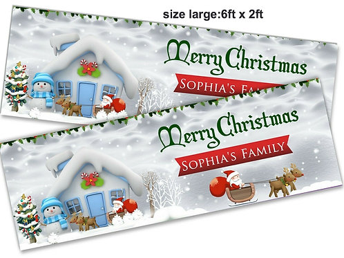 2 Personalised cute Snow Scene Christmas Banners: size 6ft x 2ft