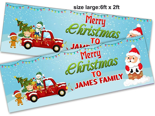 2 Personalised Santa & Friends Merry Christmas Banner: size 6t x 2ft