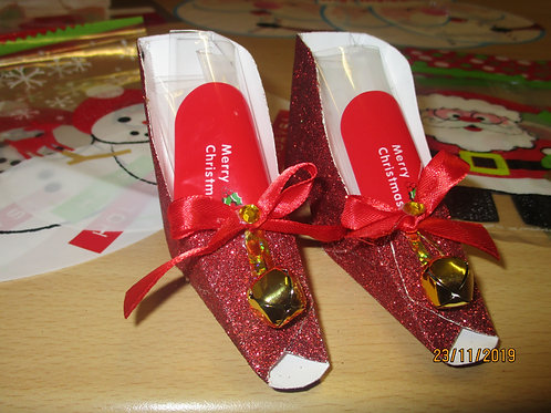 Mrs Claws red glitter shoes  - Christmas shoe favors + stocking bag