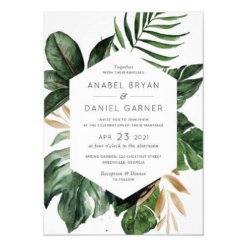 Elegant Botanical Engagement Invites + free matching envelopes