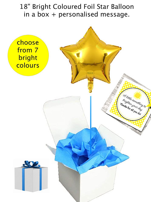 """Bright Star 18""""/43cm Foil Balloon in a box + personalised message."""
