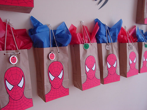 Spiderman Party Bags + thank you name tag